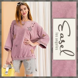 Easel Patchwork Mineral Wash Lightweight Knit Top